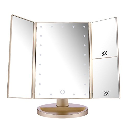 Espejo de Maquillaje con LED, Natural Iluminado Espejo de Mesa Luz con Ampliación 1X / 2X / 3X Plegable Espejo de la Vanidad Rotación 180° Pantalla Táctil Espejo Cosmético para Hombre y Mujer (Oro)