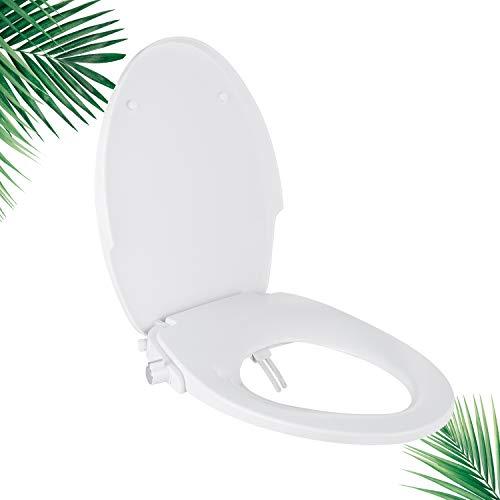Dalmo Bidet Seat, DBTS05BJ Non-Electric Bidet Seat with Dual Nozzles, Elongated Advanced Bidet Toilet Seat, Soft Quiet Close, Adjustable Sprayers, Rear & Feminine Washing, Easy Quick Installation