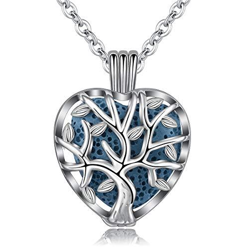 INFUSEU Family Tree of Life Collar de aromaterapia con 7 Piezas de Piedra de Roca de Lava en Forma de corazón, joyería de medallón de difusor de Aceite Esencial para Mujeres
