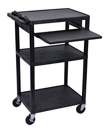 LUXOR LP42LE-B Tall Media Cart, 41' H x 24' W x 18' D, Black