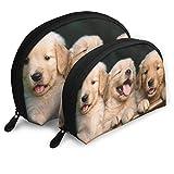 Golden Retriever Puppy Pet Portable Bags Clutch Pouch Coin Purse Cosmetic Travel Storage Bag 2Pcs Handbag