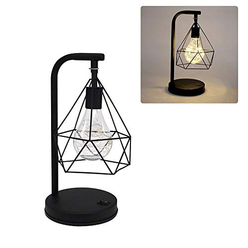 Lámpara de escritorio,LED Lámpara Vintage de mesa de metal y diamante Luz nocturna decorativa con pilas Sala de estudio Oficina Comedor Dormitorio Sala de estar Cafetería Restaurante