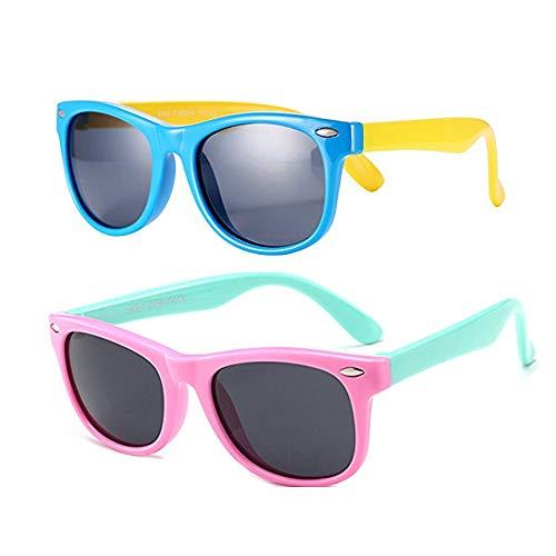 FOURCHEN Gafas de sol para niños, gafas de sol para niños/niñas Clout Goggles Oval Mod Gafas de sol retro para niños Round Lens negras (pink+blue)