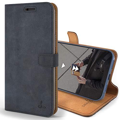 Snakehive iPhone 12 Pro Max Schutzhülle/Klapphülle echt Lederhülle mit Standfunktion, Handmade in Europa für iPhone 12 Pro Max (Blau)
