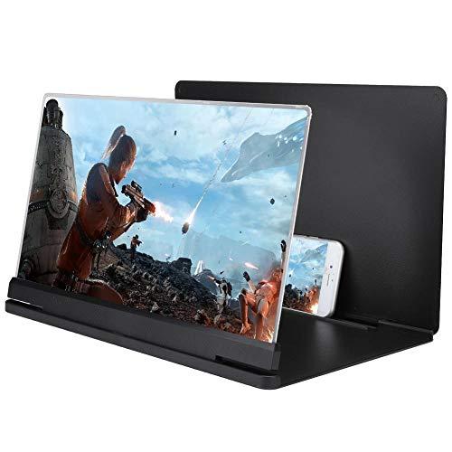 Lupa de pantalla de teléfono, 18X 14 pulgadas pantalla de teléfono inteligente Magnifixer Lupa de pantalla 3D Lupa de teléfono inteligente Compatible con todos los teléfonos inteligentes.(Negro)