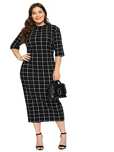 Floerns Women's Short Sleeve Plus Size Gingham Bodycon Business Pencil Dress Black White 2XL