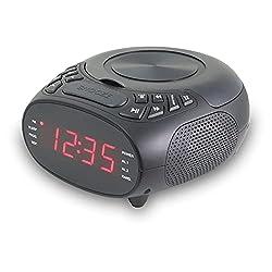 GPX Dual Alarm CD Clock Radio, Top Load, FM, Black (CC318B)