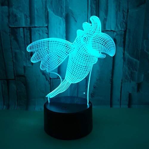Luz Nocturna 3D,Parrot Animal Bird 3D Illusion Led Lámpara 7 Colores Cambiar...