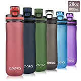 Opard Sports Water Bottle, 20 Oz BPA Free Non-Toxic Tritan Plastic Water Bottle with Leak Proof Flip Top Lid for Gym Yoga Fitness Camping (Red)