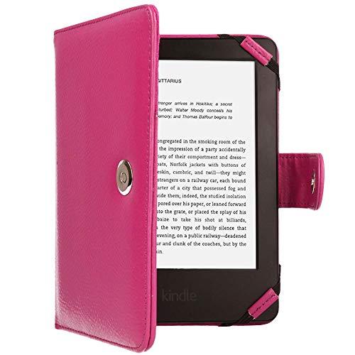 TECHGEAR Rosada Kindle Funda de Cuero PU con Cierre magnético Carcasa para Amazon Kindle eReader y Kindle Paperwhite con Pantalla de 6 Pulgadas [Estilo de Libro] con Protector de Pantalla Incluido