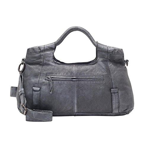 VOi Damen Handtasche 21076 Leder Henkeltasche Vintage Ledertasche Schultertasche Schwarz