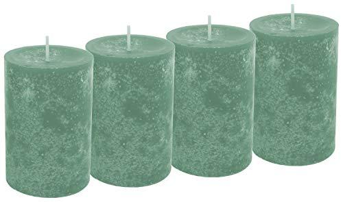 Unbekannt 4 Stumpenkerzen Kerzen Grün Mint Salbei Tischdeko Hochzeit Kommunion Konfirmation Adventskranz