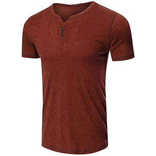 Tshirt Hombre Verano Cómodo Hombre Manga Corta Casual Color Sólido Botones con Cuello En V Camiseta Hombre Vacaciones Clásicas Shirt Correr Hombre D-Maroon XL