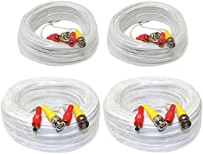 Mixed of 4 Pack (2x 100ft + 2x 200ft) All-in-One Pre-made Siamese Video & Power BNC Cable for CCTV Security Camera