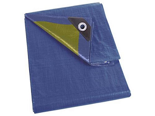 Perel 110-0404 Abdeckplane Stark, Blau / Khaki, 4 x 4 m