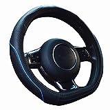 ZATOOTO ハンドルカバー 軽自動車 D型 高級本革 かっこいい 汚れ・滑りにくい 太め 手触りよし 3Dグリップ セレナ・スイフトなど用ステアリングカバー ブルーライン LY106-BL