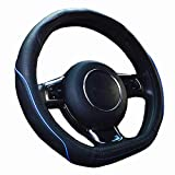 ZATOOTO ハンドルカバー 軽自動車 D型 sサイズ 高級本革 かっこいい 汚れ 滑りにくい 太め 手触りよし 3Dグリップ セレナ スイフトなど用ステアリングカバー ブルーライン LY106-BL