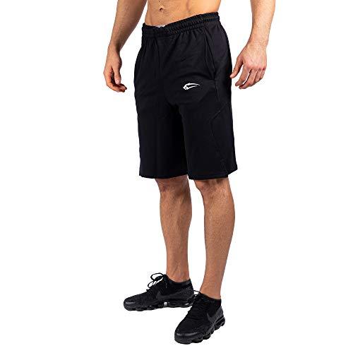 SMILODOX Herren Shorts Ontario Kurze Hosen für Sport Gym Training   Sporthose - Freizeithose - Trainingshose - Sweatpants Jogger - Jogginghose Kurz, Farbe:Schwarz, Größe:XL