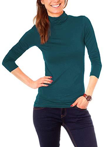 Easy Young Fashion Basic Damen Rollkragen Jersey Shirt Unterzieher Longsleeve Enganliegend Langarm Einfarbig One Size Petrol