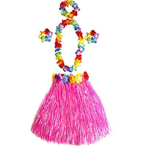 Ogquaton - Disfraz hawaiano para fiesta de disfraces de flores con falda de hierba hula y brazaletes de flores para cumpleaños, celebración, juego de 6 unidades, color rosa, creativo y útil