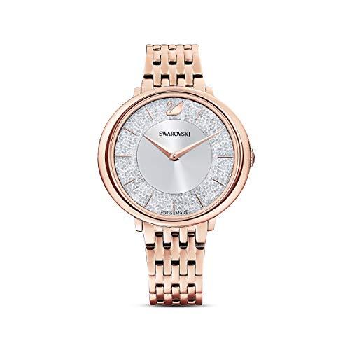 Swarovski Reloj Crystalline Chic, brazalete de metal, tono oro rosa, PVD tono oro rosa