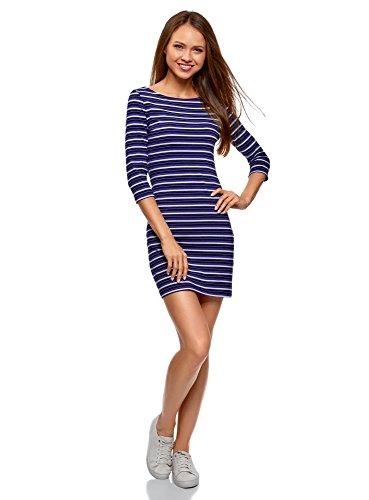 oodji Ultra Damen Baumwoll-Kleid Basic, Blau, DE 42 / EU 44 / XL