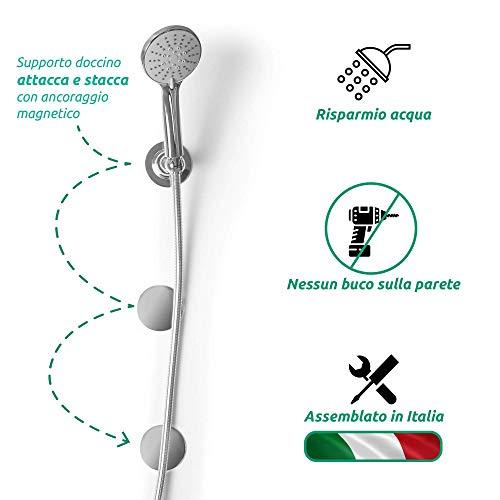 AQVALESS Magnetische Duschsäule mit 5 Düsen und flexiblem Duschkopf, montiert in Italien, universell wassersparend [Energieeffizienzklasse A +]