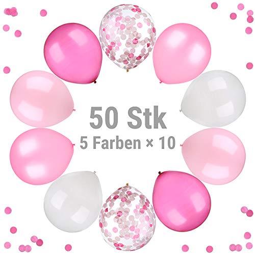ecooe 50 Stück Perle Latex Luftballons 11 Konfetti Ballons 5 Farben Rosa Hellrosa Fuchsie Weiße Konfetti Ballons für Baby-Duschen,...