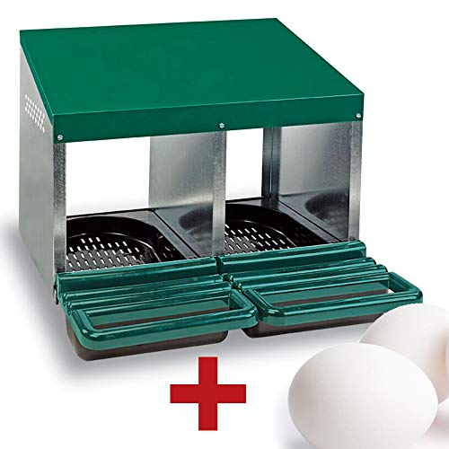 FINCA CASAREJO Ponederos para gallinas + 2 Huevos macizos de Regalo. Ponedero Eco 2 Huecos