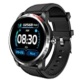 ZGZYL W3 Smart Watch Ladies with Slood Oxygen ECG PPG Presión Arterial Monitor De Ritmo Cardíaco Monitor Fitness Tracker Podómetro Reloj Deportivo A Prueba De Agua para iOS Android,A
