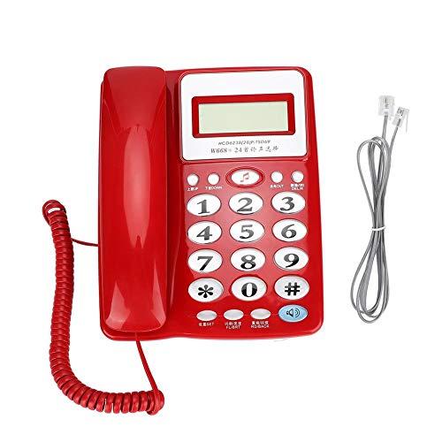 Teléfono con Cable, no Requiere batería, Pantalla Grande de Brillo Ajustable, Oficina de Negocios con teléfono de Transferencia Puede Usar teléfono Fijo(Rojo)