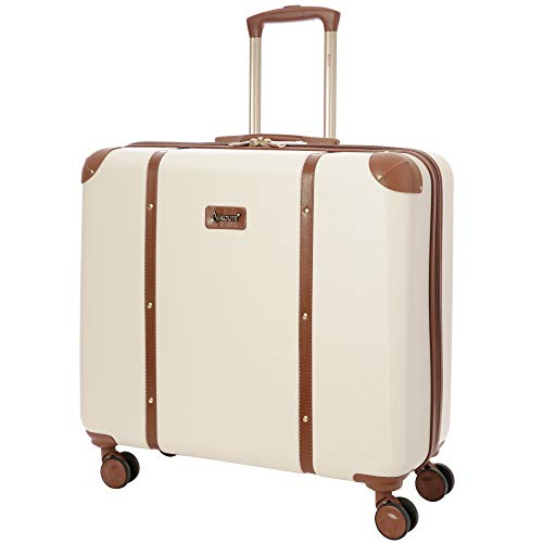 Aerolite Stylish Modern Classic Retro Vintage Trunk Style ABS Hard Shell Check in Checked Hold Luggage Suitcase with 4 Wheels, 23', Cream