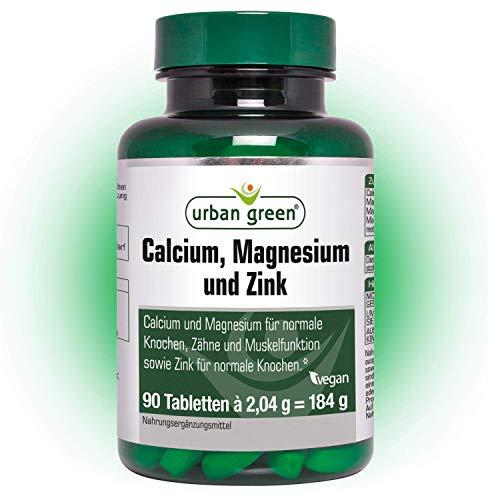 urban green Calcium, Magnesium und Zink - Tabletten für normale Knochen, Zähne und Muskel-Funktion sowie Zink für normale Knochen – vegan, laktosefrei und glutenfrei - 90 Tabletten
