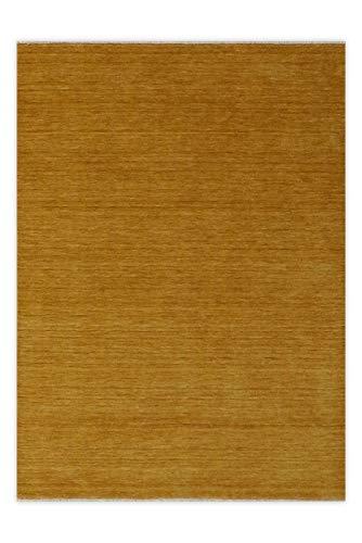 Hochflor Wollteppich RÜGEN Handgewebt Senf-Gelb Größe 160 x 230 cm