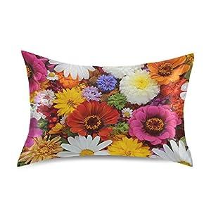 Naivey Satin Pillowcase for Hair and Skin Flower Zinnia Daisy Spring Floral Silk Pillowcase No Zipper Slip Pillowcase Silk Standard Size Pillow Cases Pillowcases 20x26in
