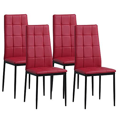Albatros Sedia per Sala da Pranzo Rimini, Set di 4 sedie, Rosso, SGS Testato