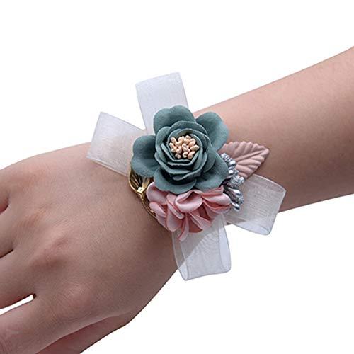 Egurs - Pulsera de Flores Artificiales con diseño de Flor, Azul