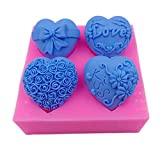Stampo in silicone con 4 cavità a forma di cuore, per sapone, decorazioni per torte, dessert, mousse, pasta di zucchero, cioccolato, caramelle, pasta di zucchero, stampo per aromaterapia, ge