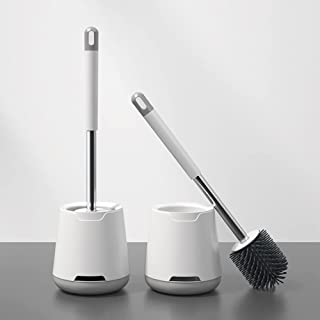 Toilet Brush and Holder - Silicone Toilet Brush with No-Slip Long Stainless Steel Handle for Bathroom Cleaning, Toilet Bru...