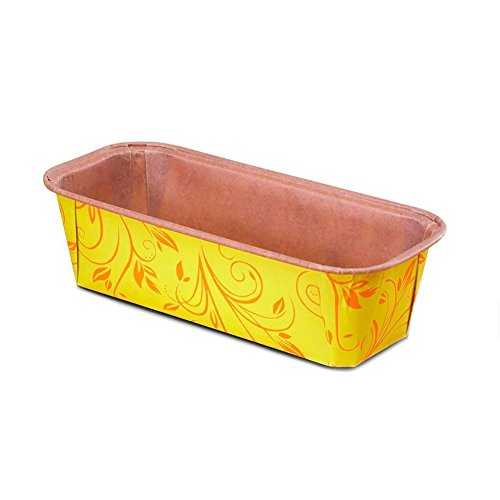 Premium Paper Baking Loaf Pan, Perfect for Chocolate Cake, Banana Bread, Yellow with Red Print, Set of 25 – by EcoBake