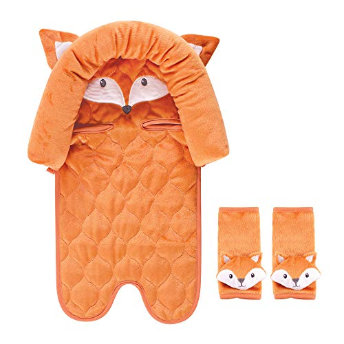 Hudson Baby Unisex Baby Car Seat Insert and Strap Covers, Fox, One Size