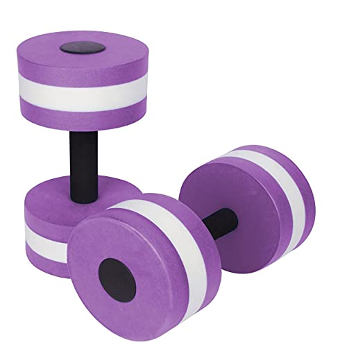 Water Dumbbells, Aquatic Exercise Dumbell ,Water Aerobics Dumbbell Aquatic ,Water Dumbbells Water Arm Aerobics Workouts Pool Resistance Bars for Men Women Weight Loss Muscle Training(2pcs) (Purple)