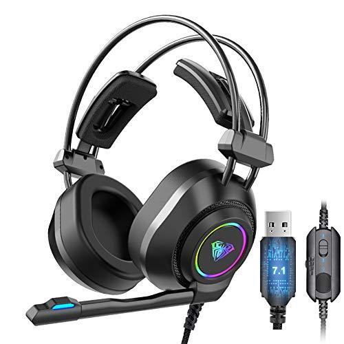 AULA S600 Verdrahtet Gaming Headset mit Mikrofon 7.1 Surround Sound, RGB Regenbogen Lichteffekt Kopfmontiert Kopfhörer, HD Geräuschunterdrückung MIC Headphone für PC MAC Desktop, Laptop Computer (USB)