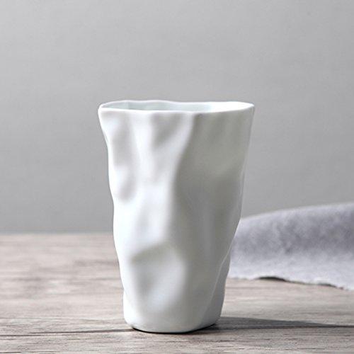 Keramiktasse Origami Tasse Tasse Becher Thermoskanne Flasche weiß blau handgemacht minimalistisch kreativ Mode Milch Tasse Kaffeetasse Tee Saft Bier nach Hause Büro Gegenwart ( Color : White )
