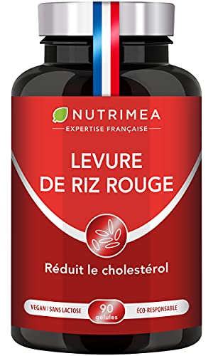 LEVURE DE RIZ ROUGE dosée en Monacoline K - 570 mg - Enrichie en Coenzyme Q10 – Statines naturelles - 3 mois de cure - 90 gélules végétales gastro-résistantes - Nutrimea - Fabrication Française