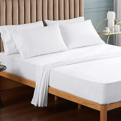 VEEYOO Full Size Bed Sheets Set, Extra Soft 1800 Brushed Microfiber Sheets Set, Wrinkle Fade Stain Resistant Deep Pocket, Luxury Comfortable Breathable 6 Piece Bedding Sheets, White