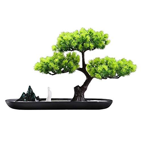 ZYYH Plantas en macetas Artificiales Bienvenido Pino Bonsai Decoración de Plantas Artificiales Rocalla de cerámica Pequeña decoración de Escritorio en Maceta Árbol Artificial
