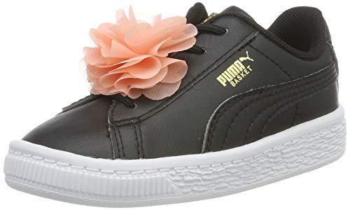 Puma Baby Mädchen Basket Flower AC Inf Sneaker, Schwarz (Puma Black-Peach Bud) , 23 EU