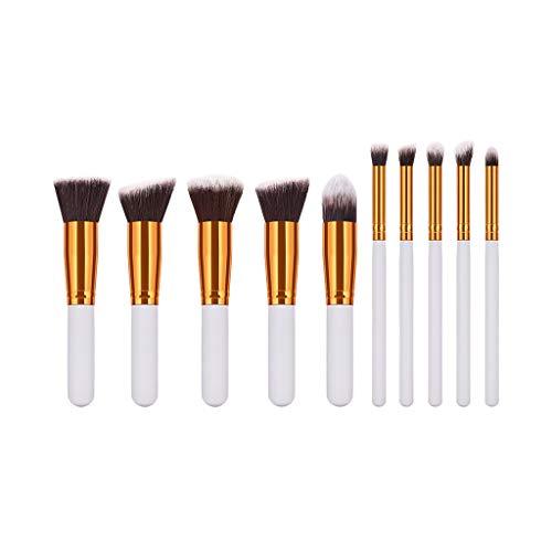 HLIYY Lot de 10 Pinceaux de maquillage pour le visage et les yeux Premium Coloré Fondation Mélange Blush Yeux Visage Professionnels Set avec Poils Synthétiques pour Makeup Cosmétiques