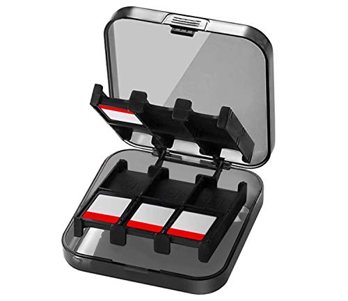 GWL Boîte de rangement pour jeux Nintendo Switch, 12 en 1 Game Card Organisateur Coffre de rangement pour Nintendo Switch Genrics Carte mémoire Sac de transport pour Game Card Organizer (Noir # 2)